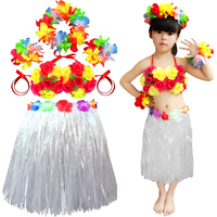 حار بيع الاطفال تنورة هاواي حولا العشب ليو مجموعة قبعات سوار الطوق ييس حزب الديكور