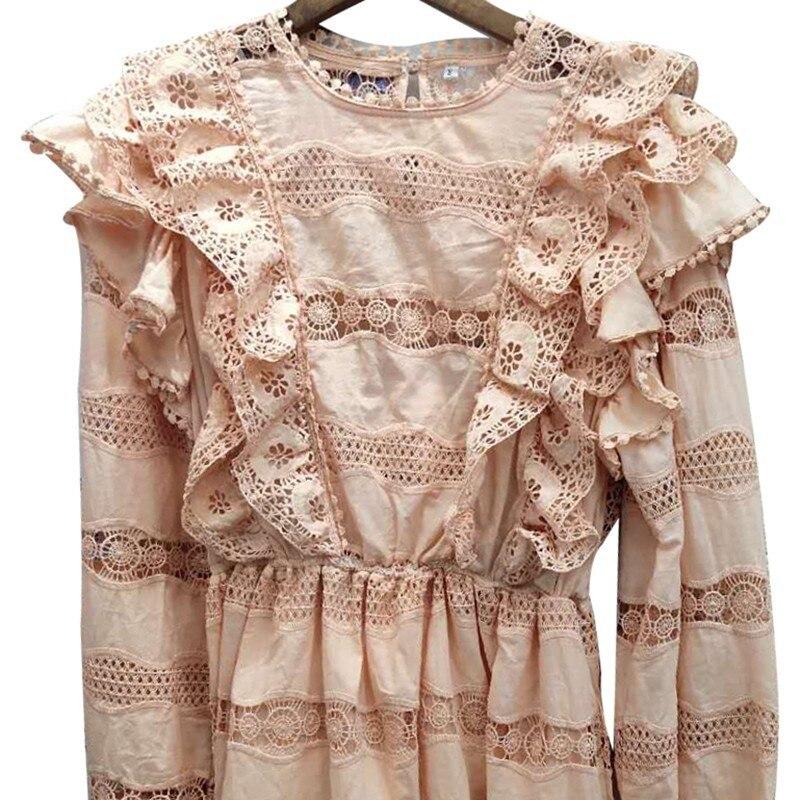 CHICEVER été élégant solide évider robe pour les femmes O cou lanterne manches taille haute une ligne Mini les robes 2019 mode - 5