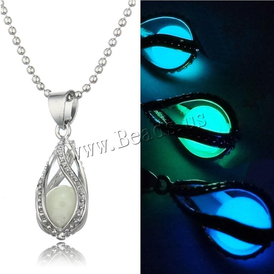 1 PCS HOT Fashion Women Men Couple The Little Mermaids Teardrop Glow in Dark Pendant Necklace Gift Glowing Jewelry Lovers