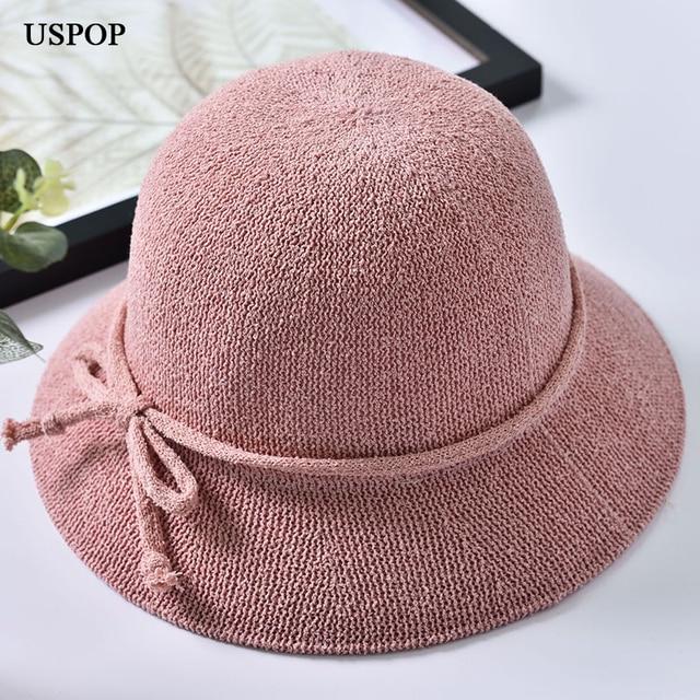 cf3b291f19f 2018 New women bucket sun hats female bow-knot solid color weaving sun hat  foldaway casual shade summer wide brim beach hat caps