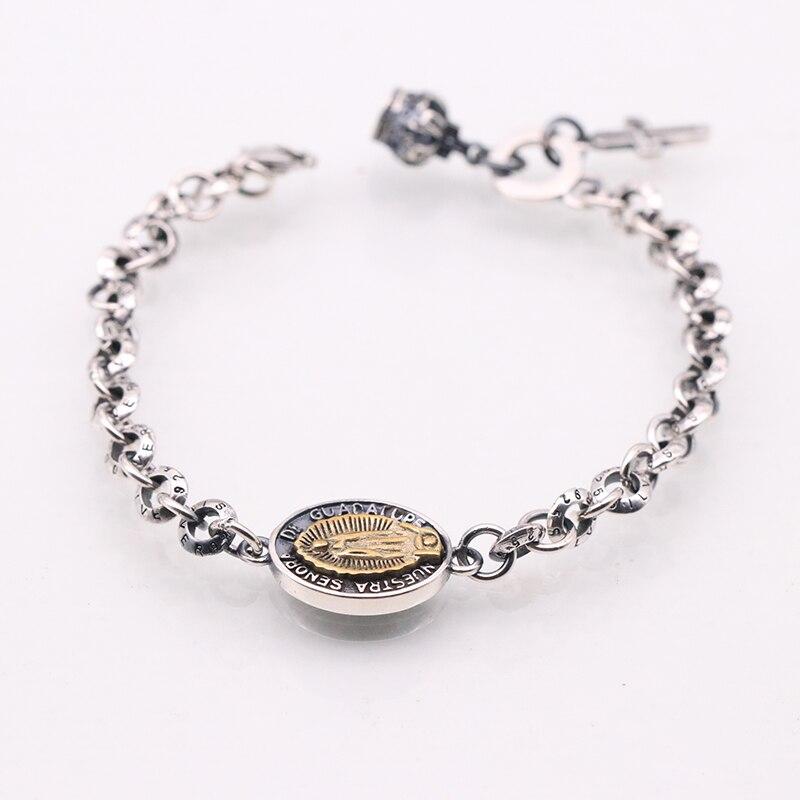 SOQMO Véritable 925 En Argent Sterling Vintage Bracelets Pour Femmes Christian Vierge Marie Bijoux bracelet rétro Hommes Personnaliser Longueur