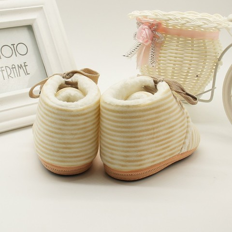 Autumn Winter Baby Non-slip Striped Shoes Winter Warm Boys Girls Lovely First Walkers Unisex Fashion Kids Shoes Karachi