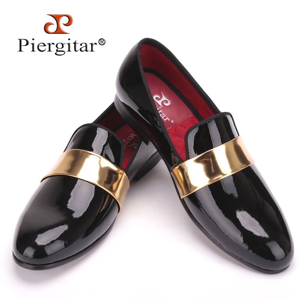 Handmade men leather Loafers with gold patent leather buckle International fashion party and wedding men dress shoes men's flats men loafers paint and rivet design simple eye catching is your good choice in party time wedding and party shoes men flats