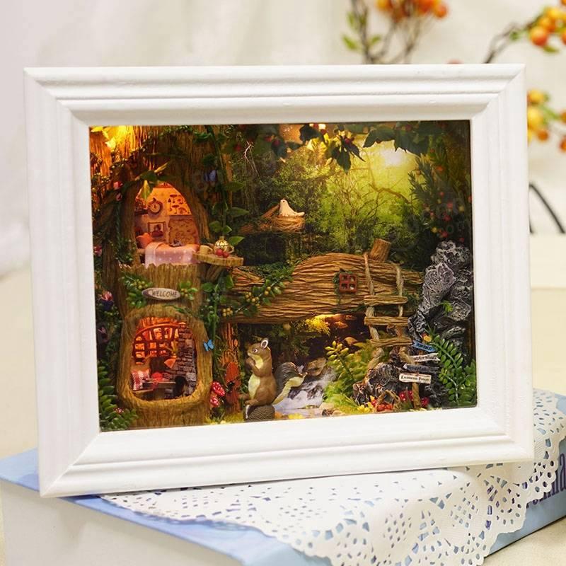 CuteRoom DIY Wooden Handmade Dollhouse Kit Photo Frame Design Decoration Collection Best Gift Toys For Children