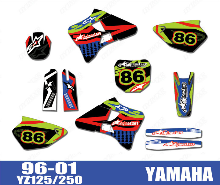Motorcycle bike Graphics Stickers Background Decals For Yamaha YZ125 YZ250  YZ 125 250 1996 1997 1998 1999 2000 2001