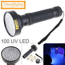 купить SecurityIng 395nm UV 100 LED Violet Multi-function Flashlight Support 6 x AA Batteries for Fluorescent Agent Detection по цене 668.9 рублей