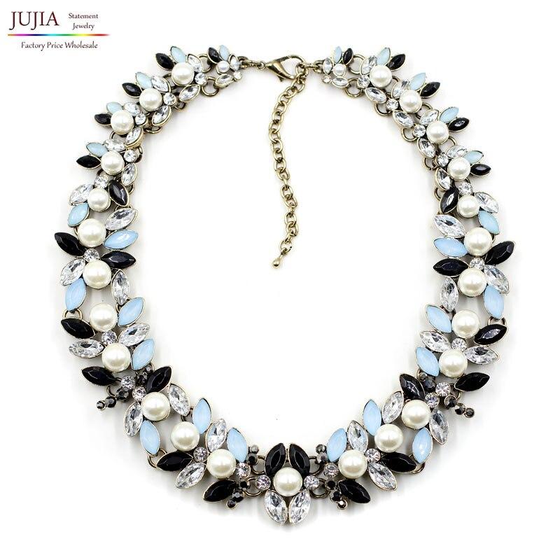 Prix pour Nouvelle Arrivée de mode chunky de bulle de luxe simulé perle pendentif Collier ras du cou déclaration bijoux Z col collier & pendentif