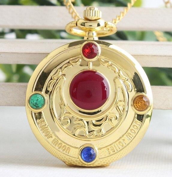 Wholesale 50 PCS/lot Golden Sailor Moon Theme Necklace Pendant Quartz Pocket Watch With Necklace Chain Girl Gift