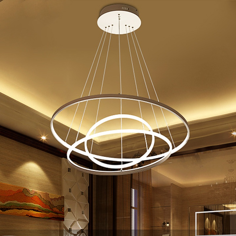 Acrylic Led Ring Chandelier Pendant Lamp Ceiling Light: Home Commercial Pendant Lamp 3 / 2 / 1 Circle Of Aluminum