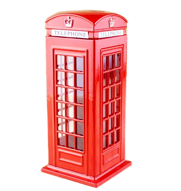 Hot British London Red Phone Booth Piggy Bank Children S Toy Money Box Home