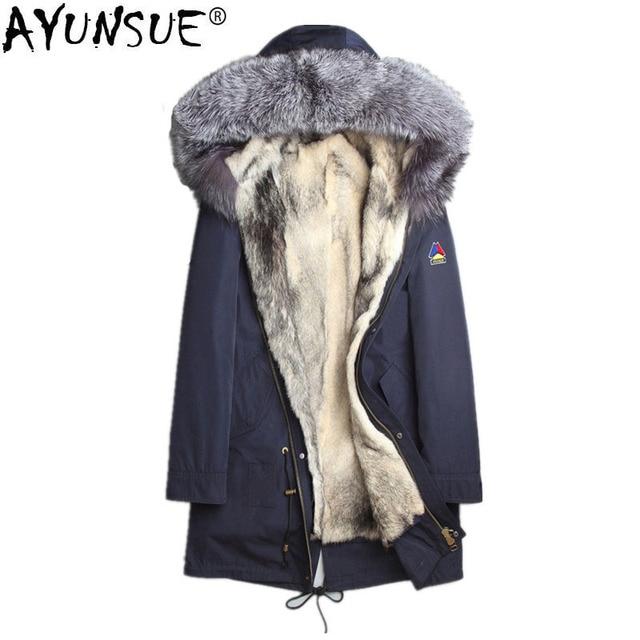 dc79c78be3c0 AYUNSUE Winter Jacket Men Natural Wolf Fur Coat Real Fox Fur Collar Parka Men  Clothes 2018
