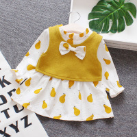 Flower girl dresses baby pear printing bow crew neck christening dress for baby girl long sleeve birthday girl dress