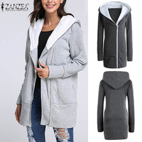 Autumn Winter Women Hooded Fleece Sweatshirt Long Sleeve Slim Zipper Cotton Coat Female Casual Solid Sport