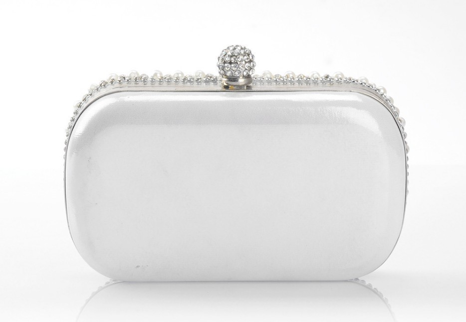 New Arrival White Clutch Handbag Crystal Evening Bags Handmade ...