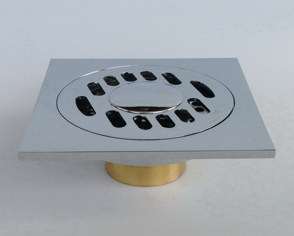 Chrome Solid Brass Bathroom Square Shape Floor Shower Drain Strainer Chr010