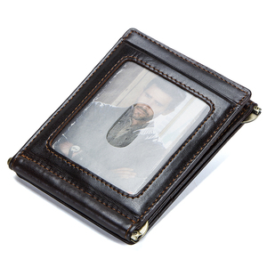 Image 2 - CONTACTS מטורף סוס עור פרה עור RFID כסף קליפ slim כרטיס ארנק trifold זכר מזומנים מהדק איש מזומנים מחזיק zip מטבע כיס