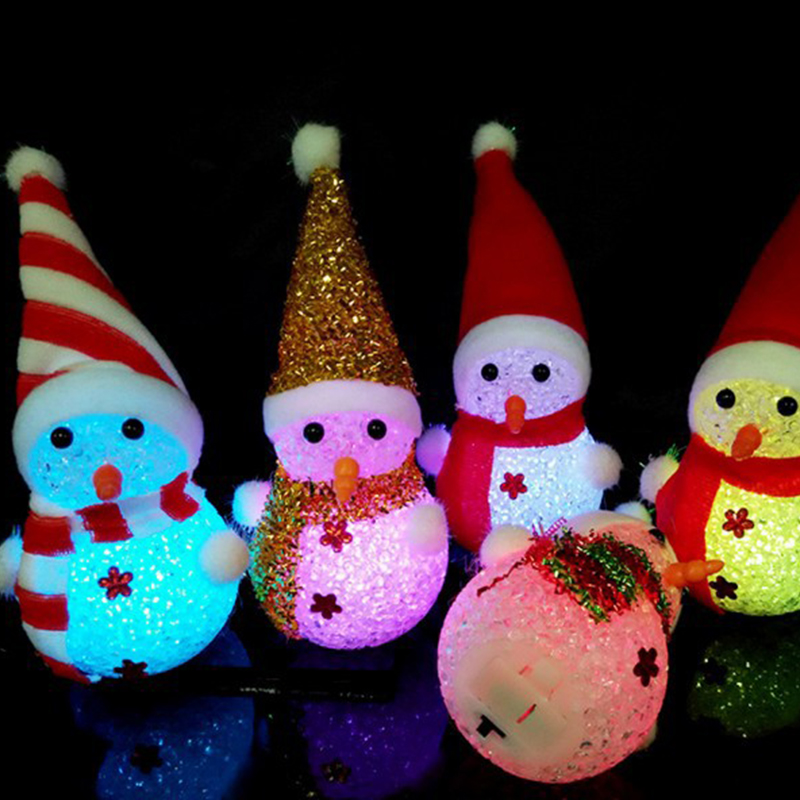Colorful light flash snowman Christmas gift Small night light rice crystal Christmas snowman nightlight The Christmas Decoration