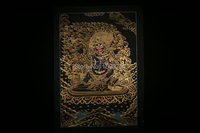 The spot Tibet Lama hand painted Thangka Mandala black painted study the living room wall hanging black Dharma 54*36