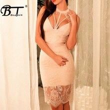 Lace Hollow Out Knee Length O Neck Backless Sleeveless Dress