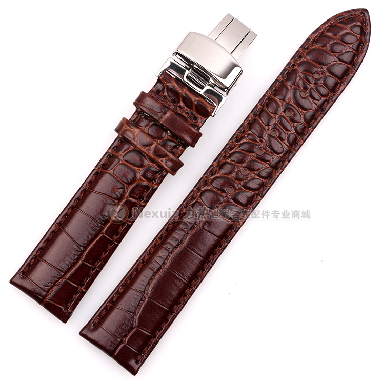 Nexuiz Watchband , Alligator Crocodile Grain Leather Watch Band Wristwatch Strap Black Brown 18mm 19mm 20mm 21mm 22mm New bands