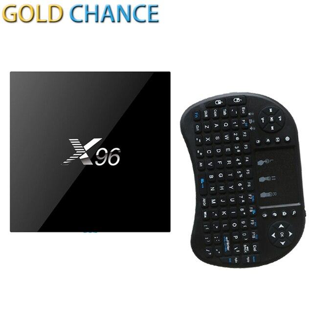 Original X96 S905X Amlogic Quad Core Android 6.0 Marshmallow 1G/8G Smart TV Box + i8 Sem Fio Android teclado Controlador Remoto