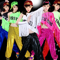 2015 Free Shipping Summer Style Jazz Dance Clothes Female Singer Hiphop Tassel TopT-shirt Modern Dance Clothes