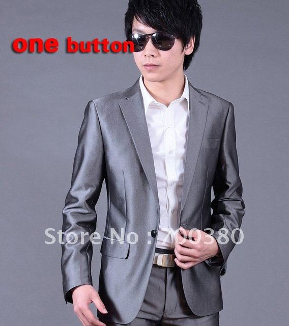 2012spring hot sale fashion slim men's suits, Color Sliver Gray coat+pants/trousers one button xf039