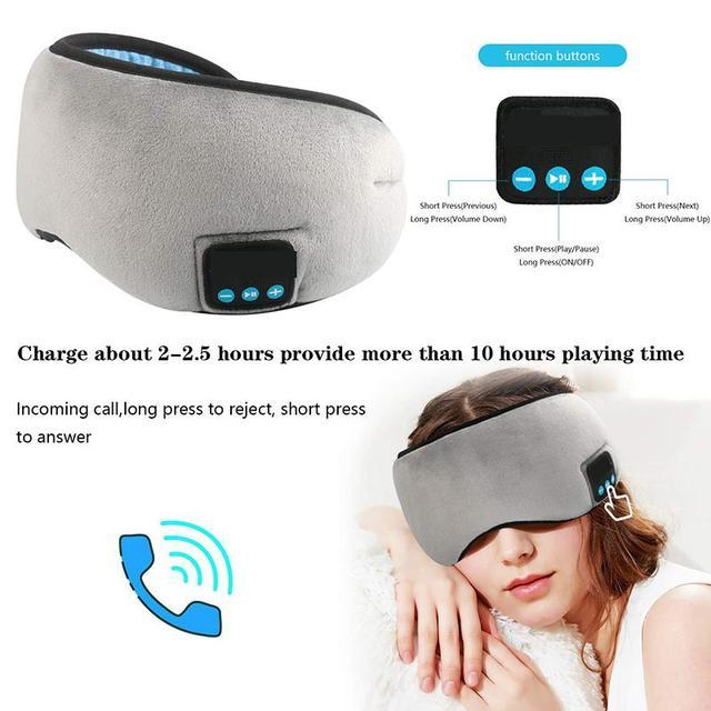 Máscara de sueño con auriculares Bluetooth 5,0 estéreo