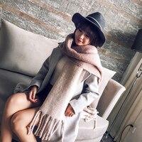 Mingjiebihuo корейский новый модный длинный шарф шаль женский Осень и зима новый цвет смешанный дикий теплый толстый шарф с бахромой
