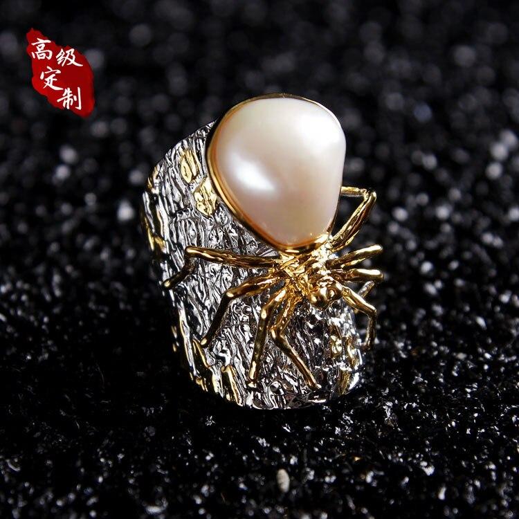 Anillo de araña de plata 925 pedido de adornos de perlas características de personalización del producto diseño original diseño personalizado a mano