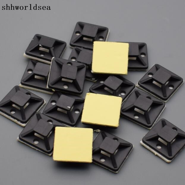 100 pcs//pack Self Adhesive Cable Wire Zip Tie Mounts Clip Wall Holder 20x20mm