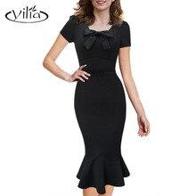 yilia 2017 Vintage Design Women Dress 4XL 50s 60s Retro Short Sleeve Slim Midi Mermaid Fitting Party Dresses Vestidos De Festa