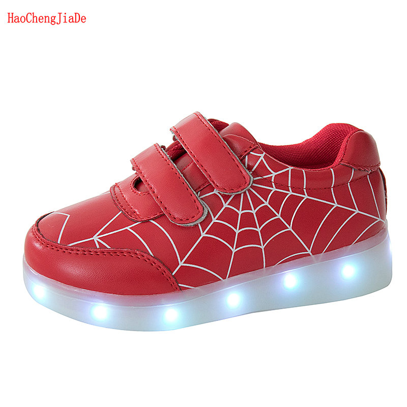 2018 New Arrival Child Luminous Sneakers USB Charge Led Children Sport Shoes Boy Girl SpiderMan Glowing Tennis Kids Light Shoes