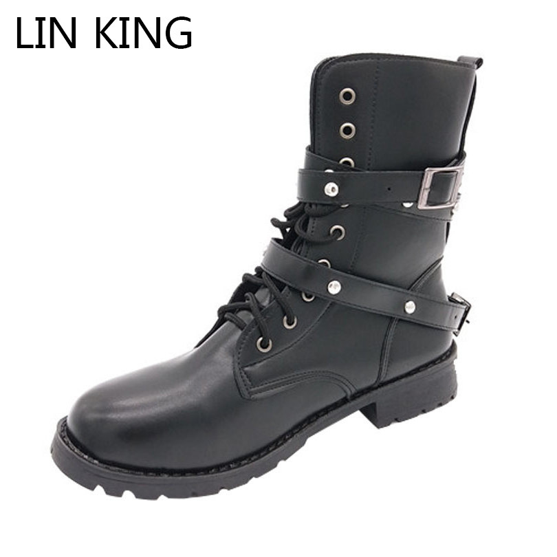 LIN KING Vintage Women Motorcycle Boots Fashion Rivets Lace Up Boots Spring Autumn Square Heel Lady Platform Ankle Martin Boots euro style spring autumn women ankle boots platforms square heel ankle boots lace up fashion motorcycle boots martin shoes