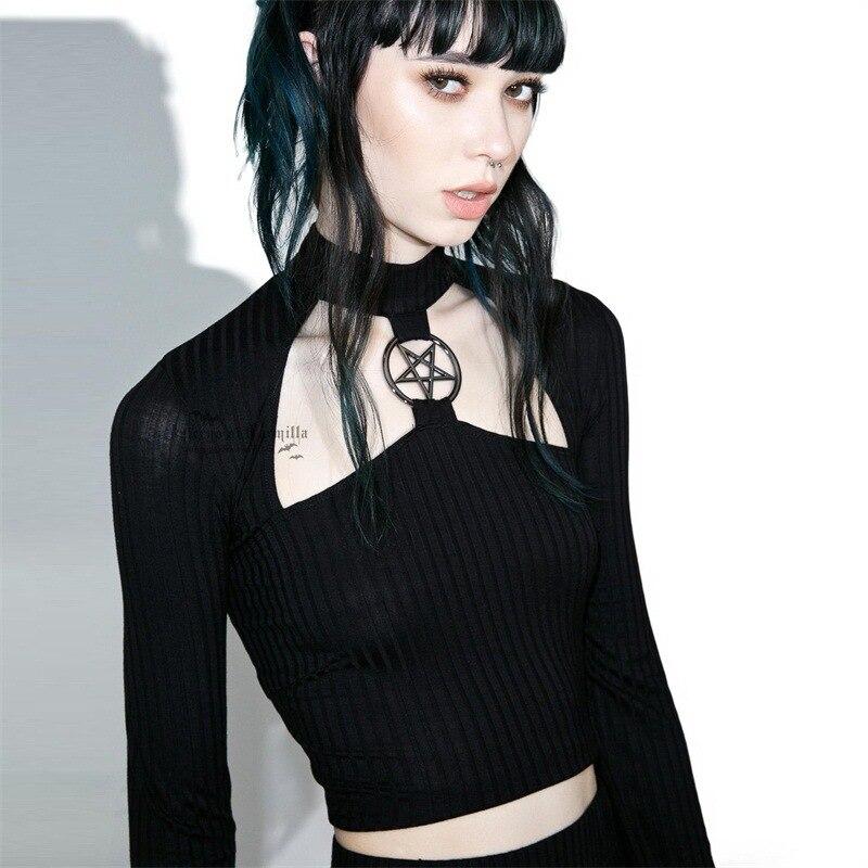 Gothic T-shirt Women Hollow Out Pentagram Long Sleeve Black Slim Crop Tops Punk Streetwear Fashion Women Cool Knitted T-shirt