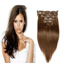 6A Full Head Clip In Human Hair Extensions 10PCS 120G 16″-26″ Straight Medium Brown #6 Brazilian Virgin Hair Clip In Extensions