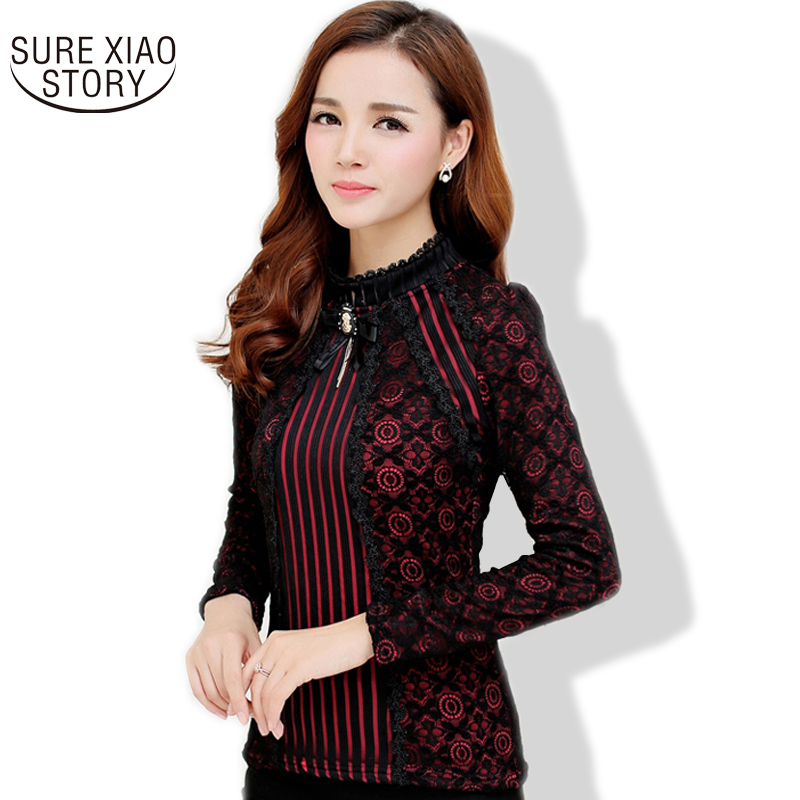 New 2016 Fall Fashion Ladies Lace Blouse Plus Size Long ...