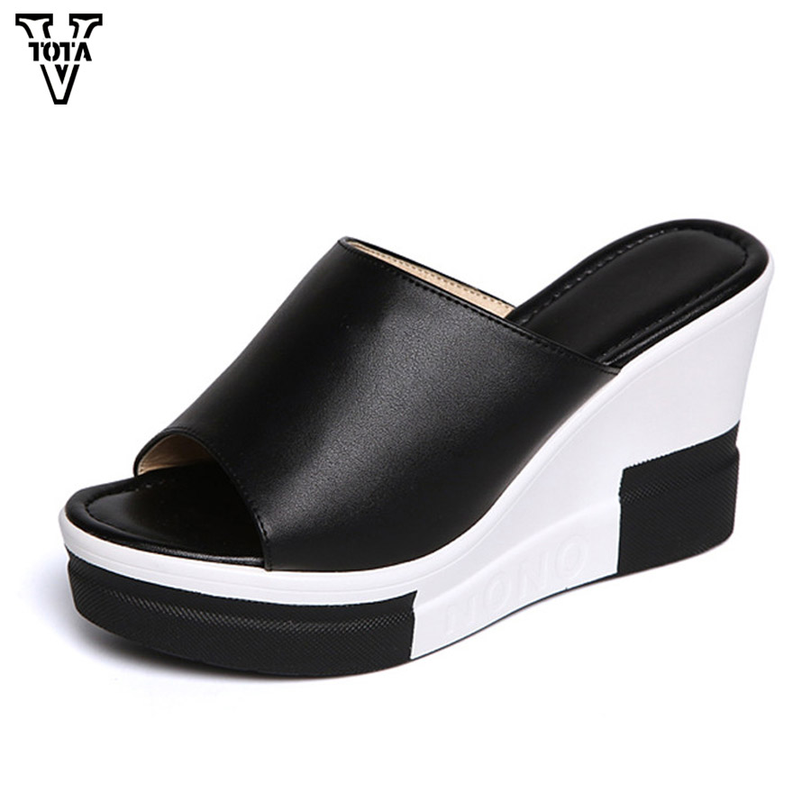 VTOTA Sandals Women wedges Shoes High Heel Slippers Summer Shoes Woman Slip on Platform Slides soft comfortable Flip Flops FC women gladiator sandals gold chains slip on high heel slippers shoes