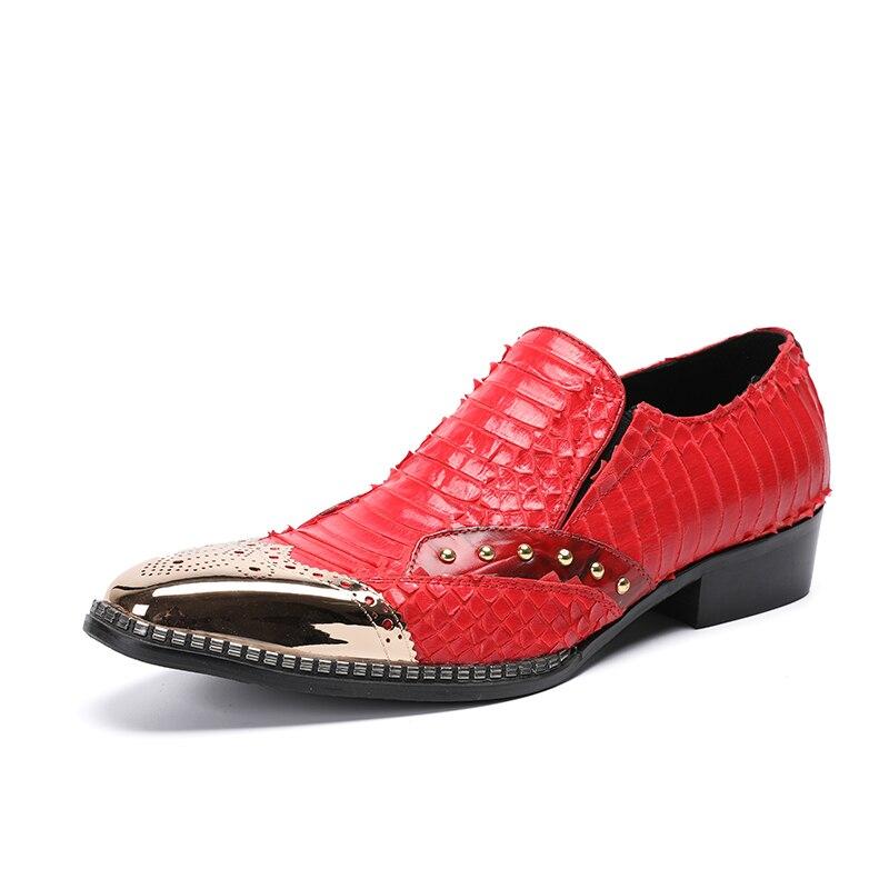 Banquete Ocasional Partido Mão Do Pé Vermelho Indiano Sapatos Compras Mabaiwan Dedo À Vestido Gota 38 Loafers Metal Plana Homens Casamento Feitos Dos De Couro 46 A1zz5q
