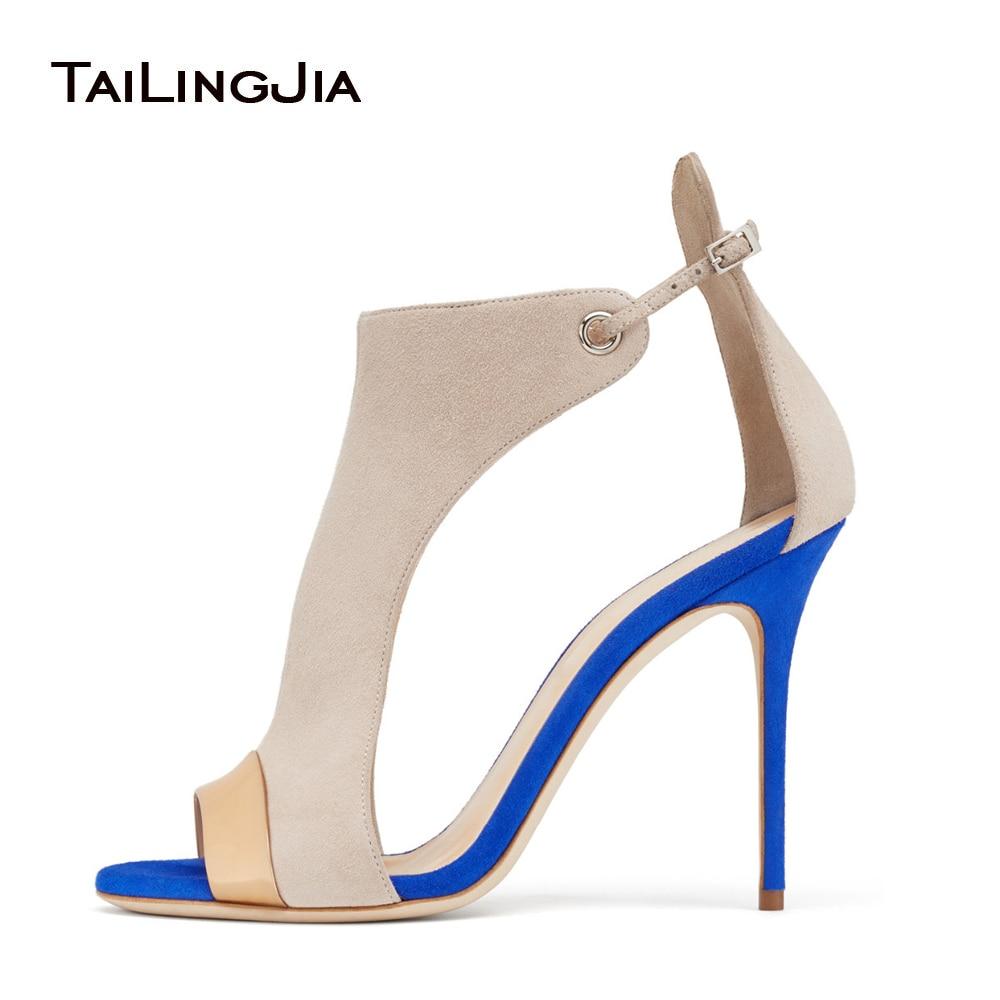 2018 Faux Leather Flock Cover Heel Women Sandals Mixed Color Peep Toe Zapatos de gran tamaño para mujer US4-15.5