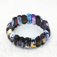 Wholesale Price Multicolor Fire Agates Natural Stone Beads Bracelet Women 10x25mm Geometry Manual Bangle Jewelry 7.5inch B3269