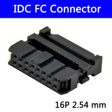 100pcs 2.54 mm IDC Socket Female FC 16P 16pin 2*8 Rectangular Connector adapter Ribbon Cable 1.27 mm