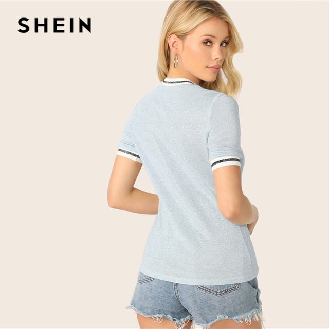 SHEIN Glitter From Fitting Ringer Tee Spring Summer Autumn Slim Fit Blue Stand Collar Striped T Shirt Women Summer T-shirts 1