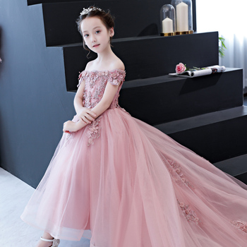 Fancy Flower Long Trailing Prom Gowns First Communion Dresses for Girl Party Clothing Kids Evening Formal Dress for Wedding
