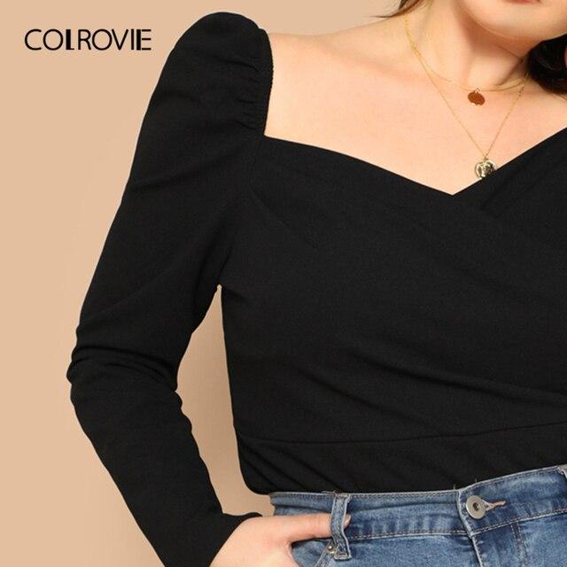 COLROVIE Plus Size Black Solid Sweetheart Elegant Women Blouse Shirts 2019 Spring Korean Puff Sleeve Office Ladies Casual Tops 3