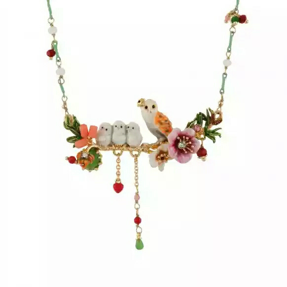 France Romantic Ornaments Enamel Snowy Owl Baby Crystal Tassels Necklace Copper Alloy Gold Plated Women Jewelry