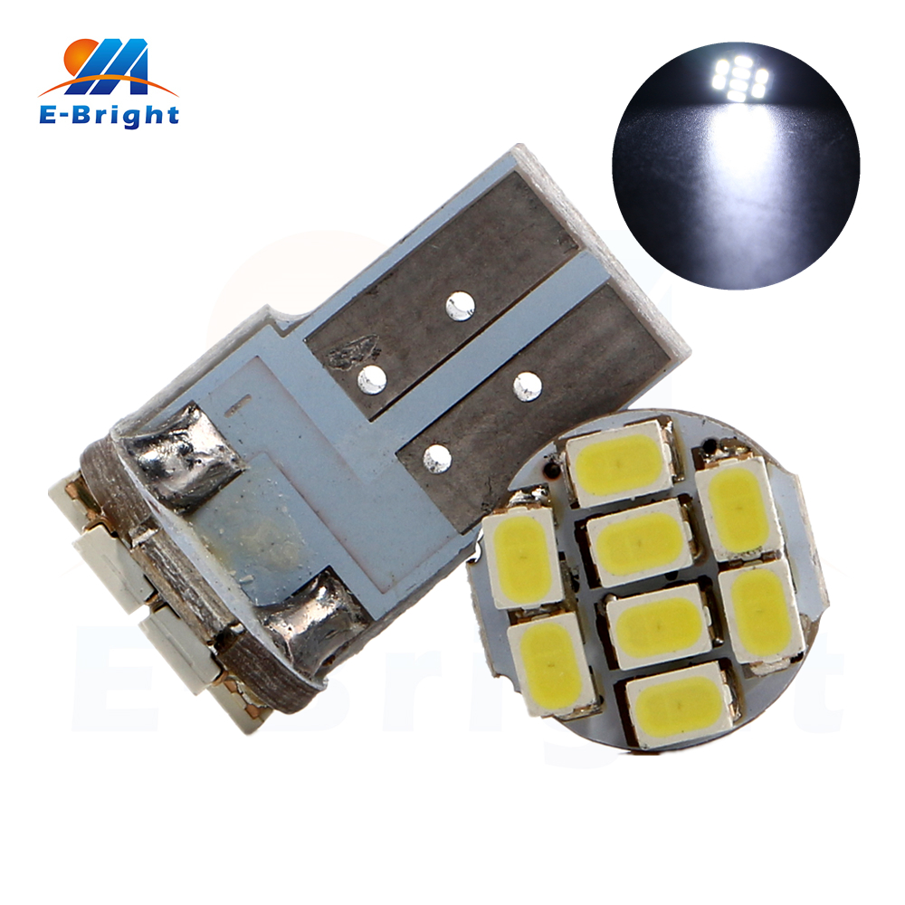 20pcs/lot PCB T10 Led Bulbs 1206 8 SMD Bulb W5W 147 Wedge Door Instrument Cars Side Signal Light Indicator DC 12V