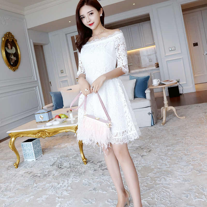 481c17cbd3ea5 AIYANGA 2018 Summer Sexy Lace Dress For Women Slash Neck Off Shoulder White  Dress Slim Elegant High Waist Dresses Dinner Party
