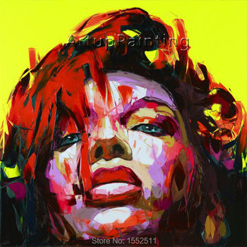 Palette knife painting portrait Palette knife Face Oil painting Impasto figure on canvas Hand painted Francoise Nielly 0610-11
