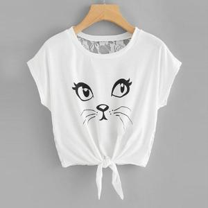 Womens Casual Short Sleeve Round Neck Printed Cat Shirts louses Tops Ladies Cat Print Lace Top(China)